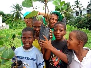 ילדים דומיניקנים מברהונה נוטעים עץ ליד הנהר