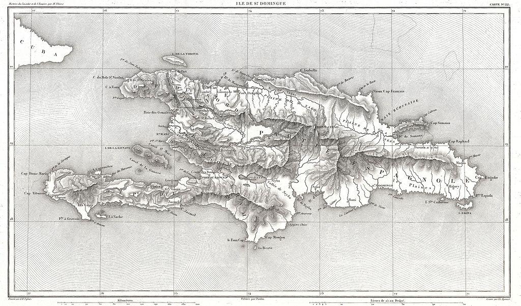 מפה של האי היספניולה - הרפובליקה הדומיניקנית והאיטי