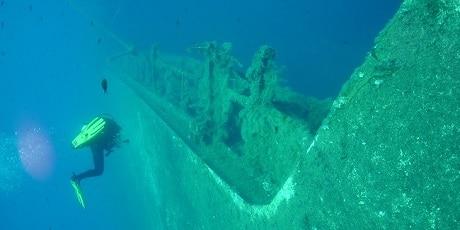 צלילה אל הספינה הטרופה Tanya V