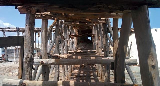 תעלה מעץ על החוף בברהונה