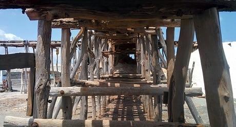 תעלה מעץ על החוף בברהונה - עותק
